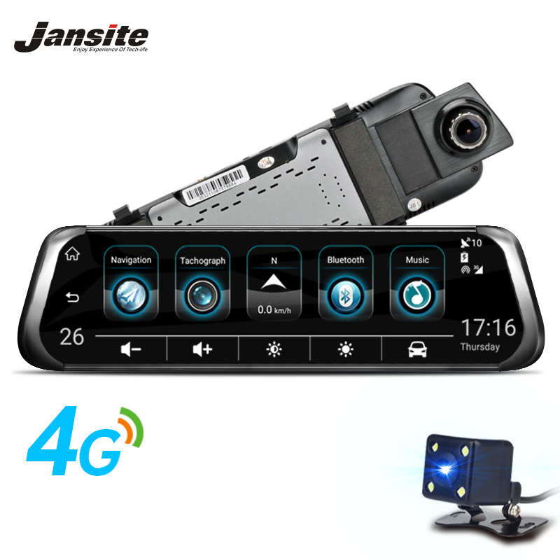 Jansite 3G 4G WIFI Car DVR 10 Touch Screen Android Car Camera ADAS Remote Monitor Rear View Mirror Dual Lens GPS Navigation hot sale android 5 0 car dvr wireless 3g wcdma b1 2100 dual lens camera rearview mirror gps navigation 7 0 ips touch screen