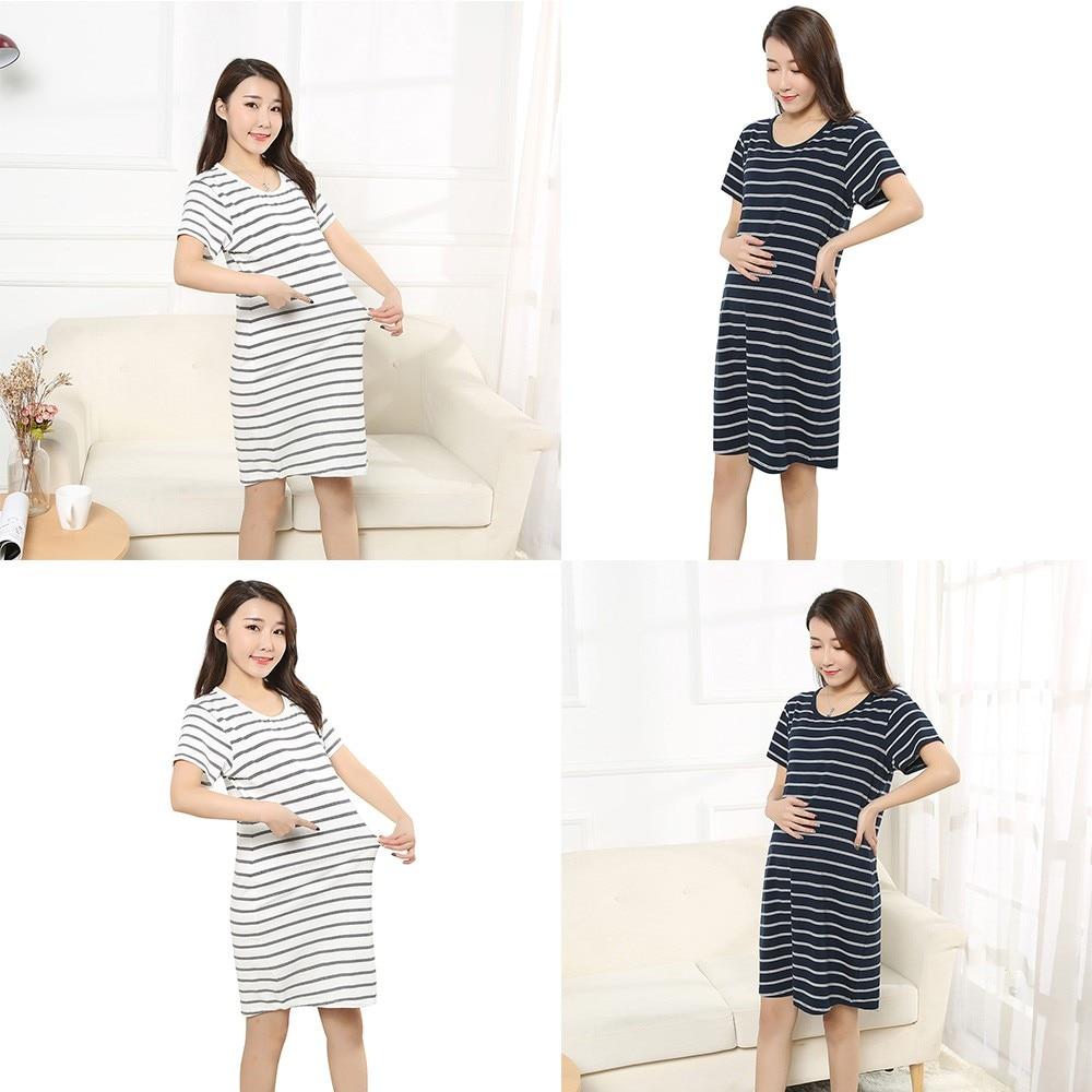 Pregnant Dress Maternity Women Summer Fashion Striped Short Sleeve Dress Clothes Pregnant Women 18Jun28