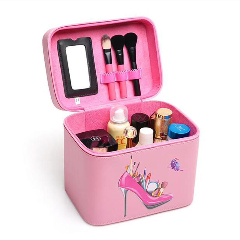 2017 Pink Portable Cosmetic Box Girl Makeup Train Case Makeup Storage Brush Holder Makeup Big Capacity Organizer Case 360 degree rotation transparent makeup organizer case cosmetic brush storage holder box can freely change storey hight