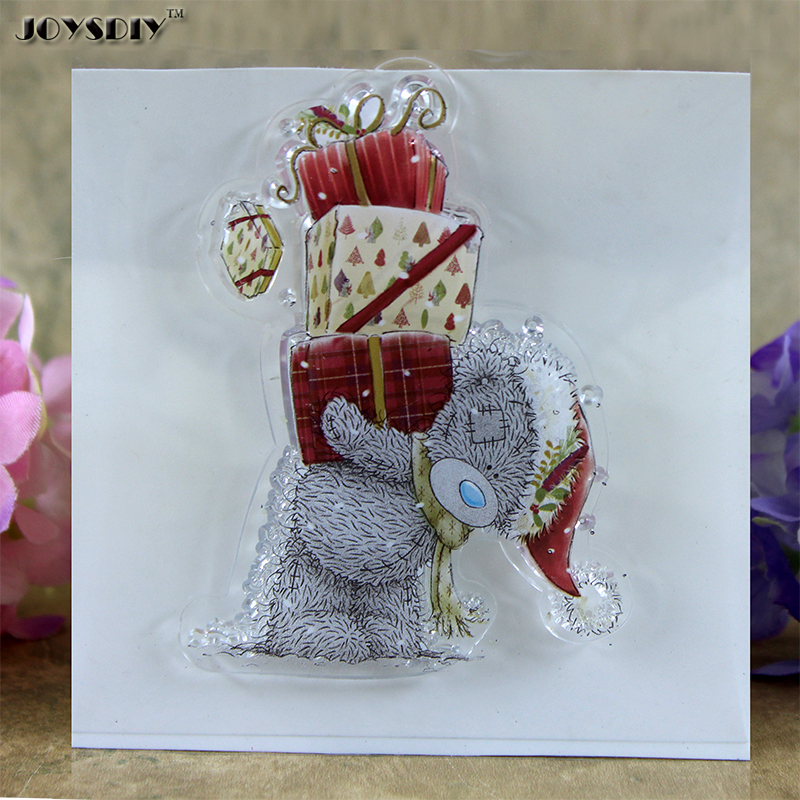 Cartoon Bear Send Gifts Scrapbook DIY photo cards account rubber stamp clear stamp transparent stamp 10