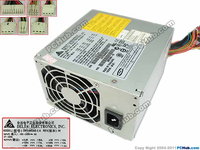 US $283 1 5% OFF Emacro Delta Electronics DPS 465AB 2 A Server Power Supply  200W PSU For SUN Blade B2500 100 240V 8A, 47 63Hz-in PC Power Supplies