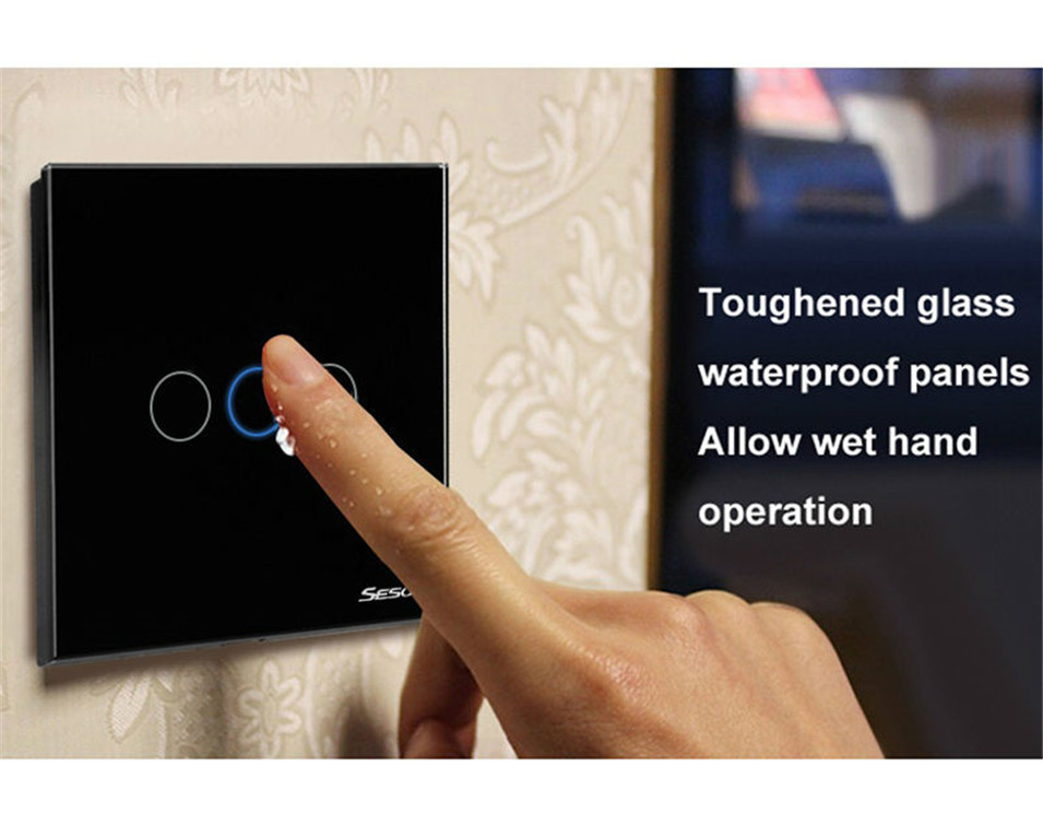 EUUK Standard SESOO Touch Switch 3 Gang 1 Way,Crystal Glass Switch Panel,Fireproof Wall Light Touch Switch,2 Year Warranty