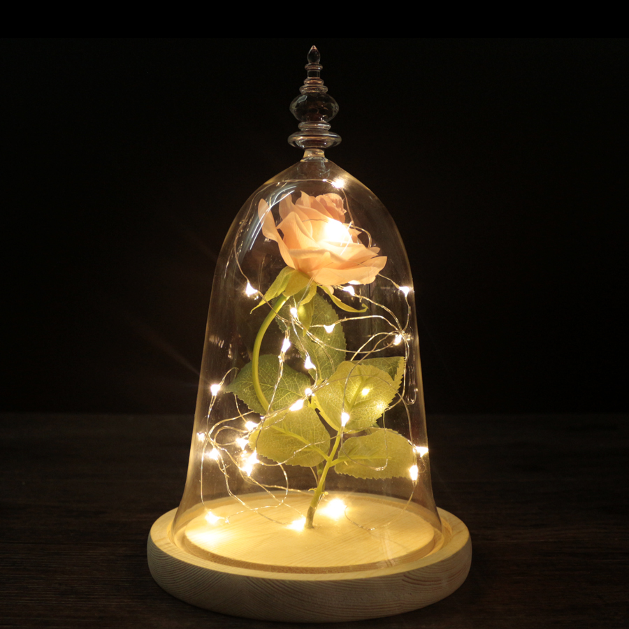 Beauty and the Beast Red Rose in Glass Dome Wooden Base