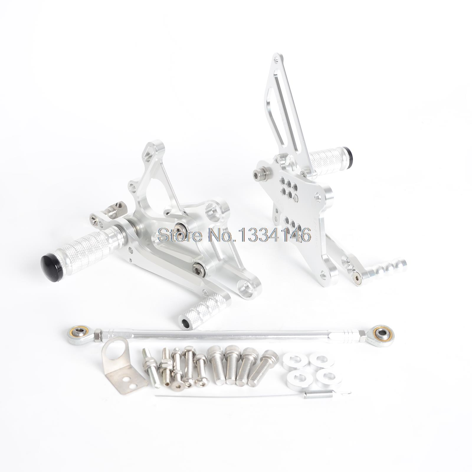 Silver CNC Billet Racing Adjustable Foot Pegs Rear Sets For Honda VFR400 NC30 RVF400 NC35 billet rear hub carriers for losi 5ive t
