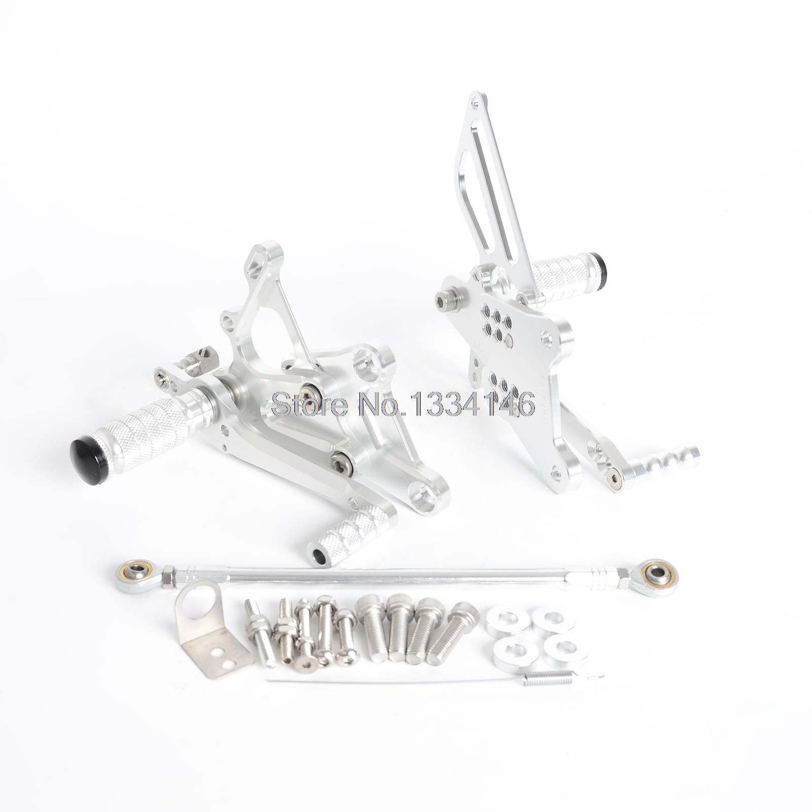 Серебро с ЧПУ заготовка гонки Регулируемая подножки задний устанавливает для Honda VFR400 NC30 RVF400 NC35
