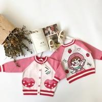 girls outwear knitted cartoon character pattern sweet toddler baby girls outwear jacket