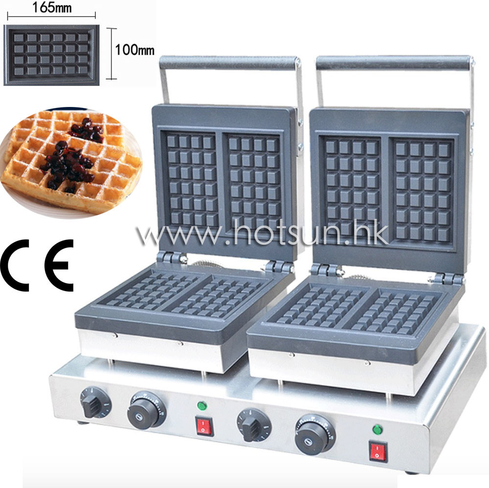 2-Slice Commercial Use 110v 220v Electric Nonstick Square Belgian Double Waffle Maker Iron Machine Baker 110v 220v electric belgian liege waffle baker maker machine iron