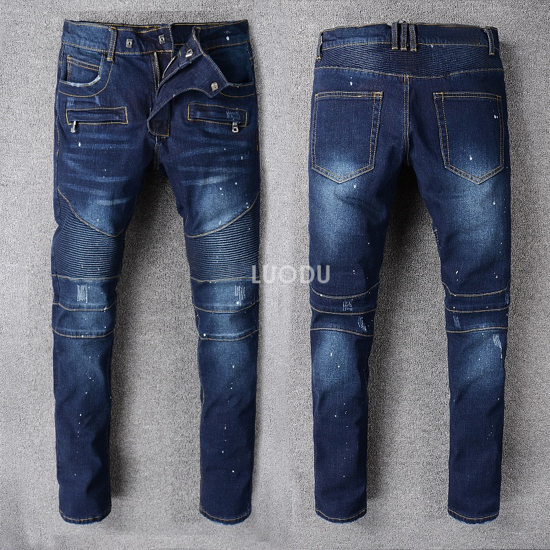 New France Fashion #8810# Males's Embellished Ribbed Stretch Moto Pants Oiled Painted Biker Denims Slim Blue Trousers Dimension 29-42