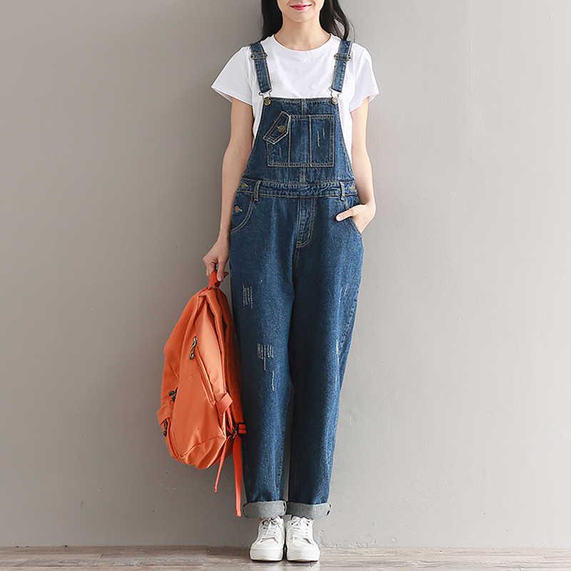 Большой Размеры Для женщин комбинезоны брюки свободные Повседневное широкие брюки с подтяжками комбинезоны для Для женщин Винтаж хлопок джинсовый комбинезон; комбинезон-Песочник 2019