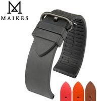 MAIKES New Good Quality 22mm 24mm Fluororubber Watchbands Fashion Sports Fluoro Gum Rubber Watch Strap Watch