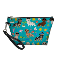 FORUDESIGNS Cute Dachshund Dog Portable Make up Bags For Women Girls Cosmetic Bag Toiletry Travel Kit Storage Pouch Beauty Case