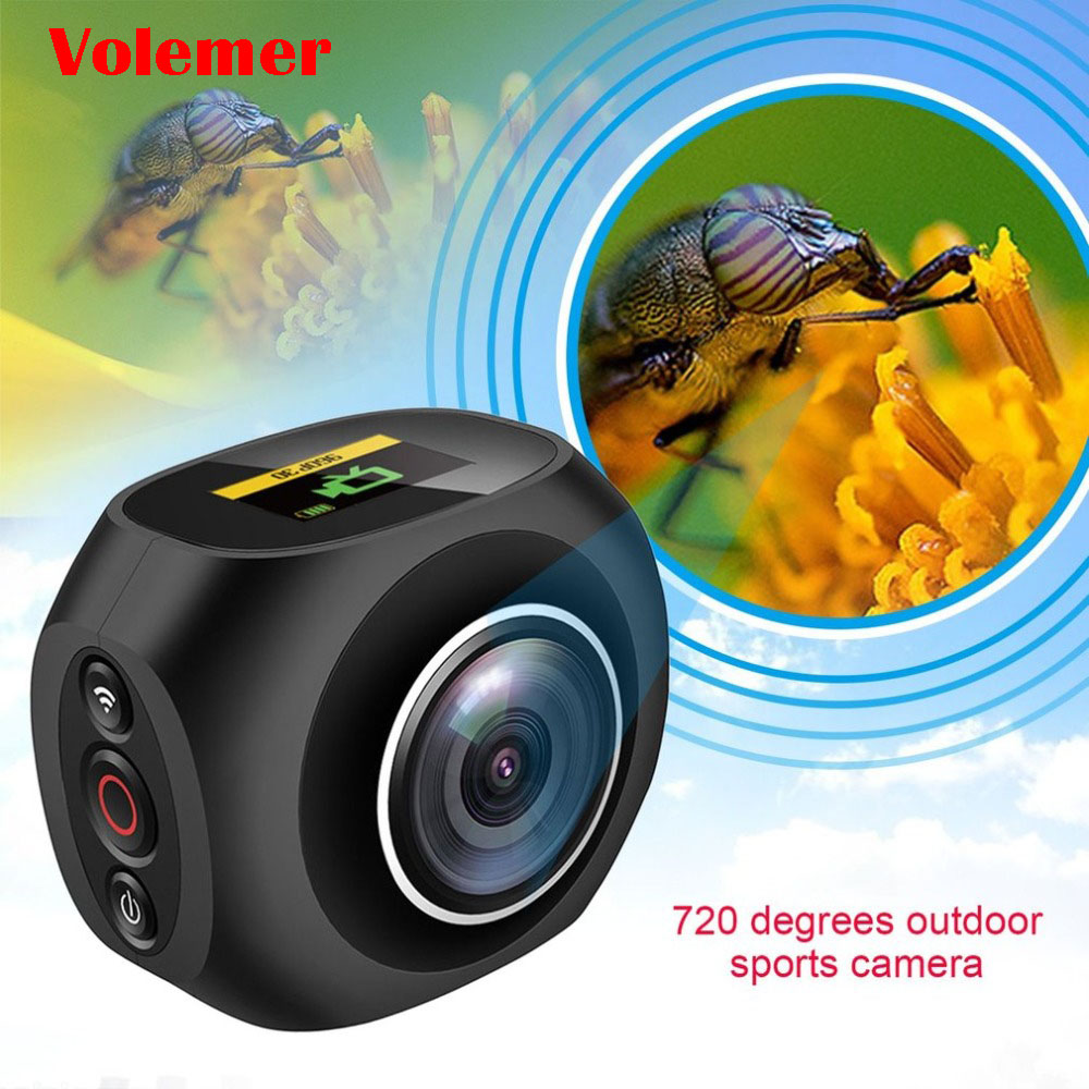 Volemer Panoramic Video Camera 360 Degree VR HD 4K High Resolution Wifi UHD Wide Angle Fish Eye Dual Lens Action Sports Camera 720 360 degree panoramic camera vr camera hd video dual wide angle lens real time seamless stitching for android smartphone