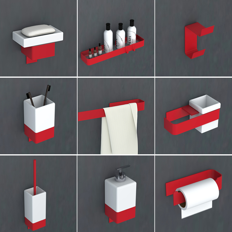 Red Bathroom Hardware Set Toothbrush Holder Metal Bathroom Accessories Spray painting bathroom shelf towel rack soap dispenser image