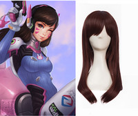 2017 Brand New Game Character D VA Cosplay Wigs Brownish Red Synthetic Hair Peruca DVA Cosplay
