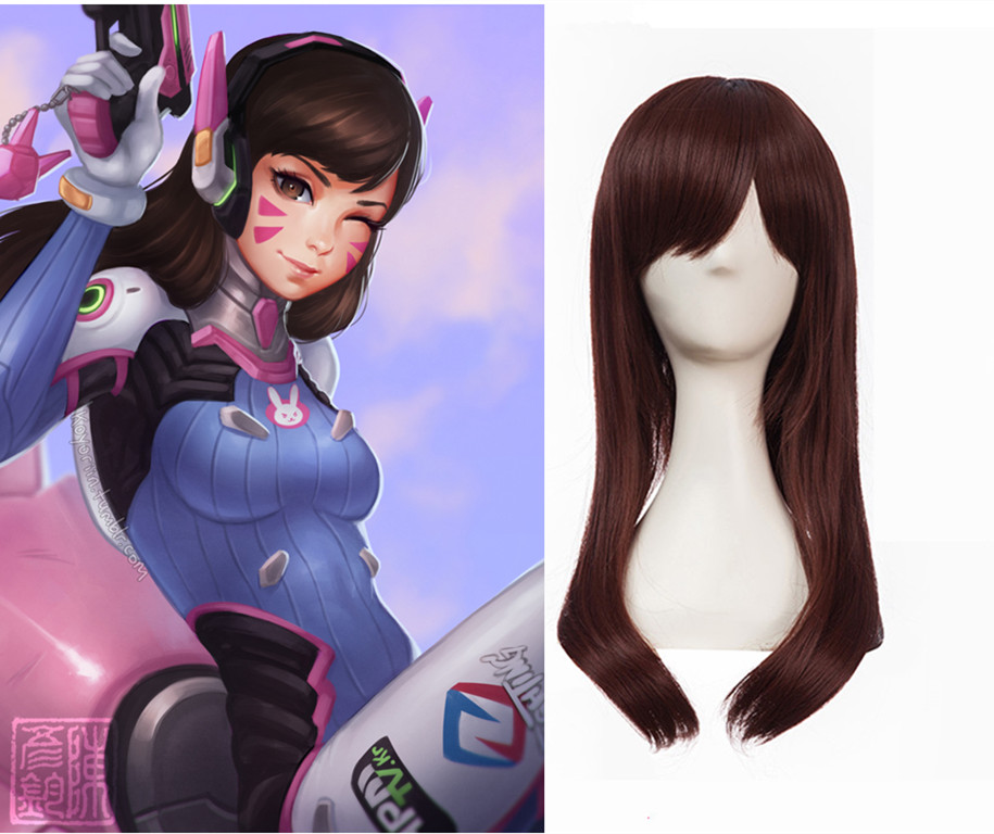 Brand New Game Character D.VA Cosplay Wigs Brownish Red Synthetic Hair Peruca DVA Cosplay Long Women Wigs short bob wigs for black women peruca masculina cheap wigs synthetic sentetik peruk lace wigs anime jinx cosplay wigs natural