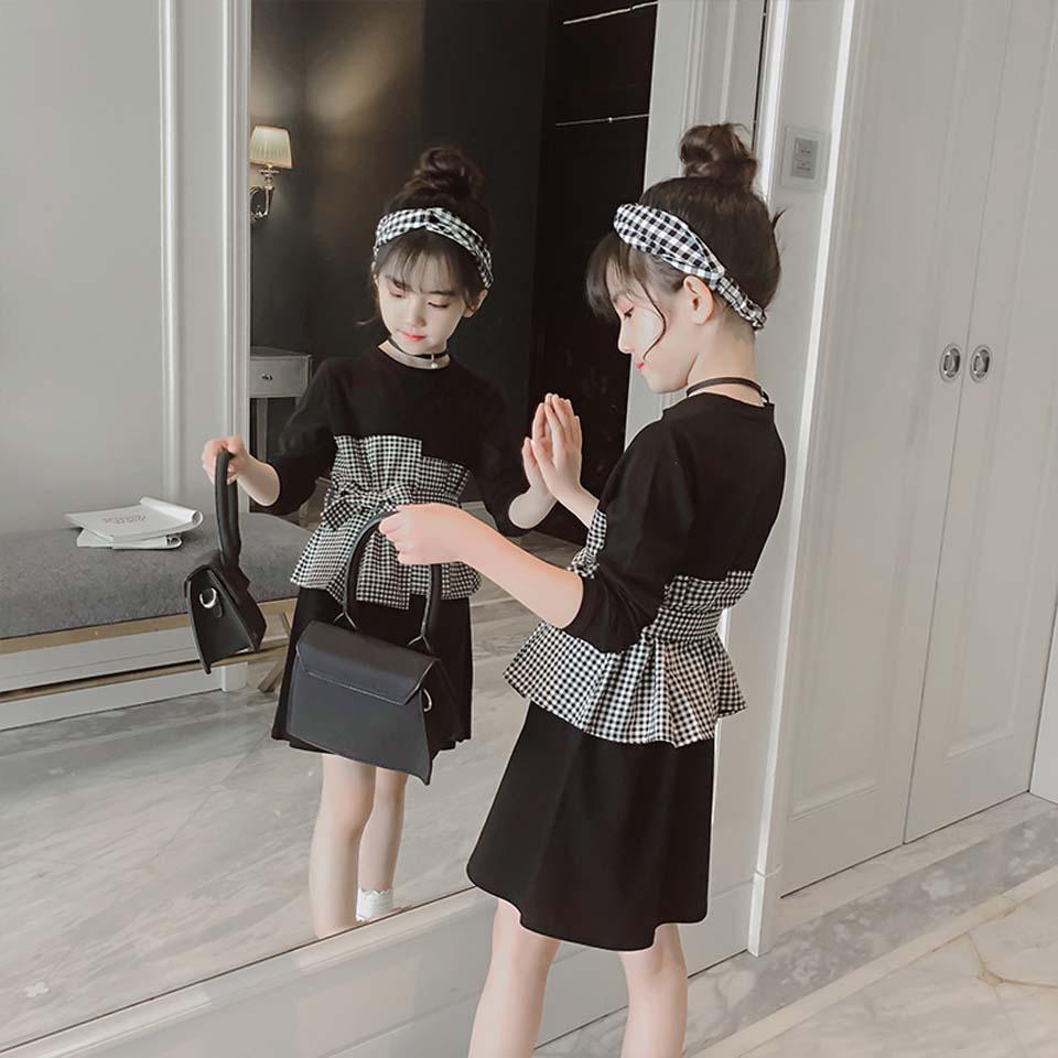 Girls Lace Dress Long Sleeve Fall Winter Teenager Girl Dress 4 5 6 7 8 9 10 11 12 years Kids Princess Plaid Dress Girls Clothing girl