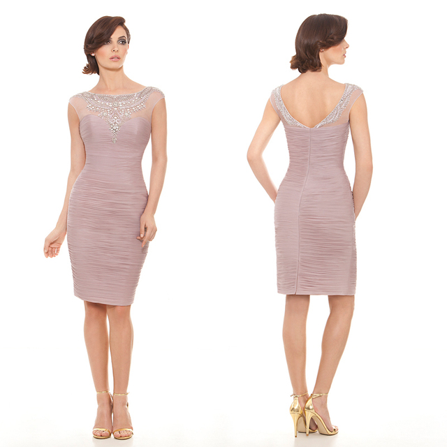 d9a5c1b9fb14 Summer Style Lilac Beaded Neckline Short Sheath Mother Of The Bride Dresses  Cap Sleeve Formal Dress For Wedding Party XMD32