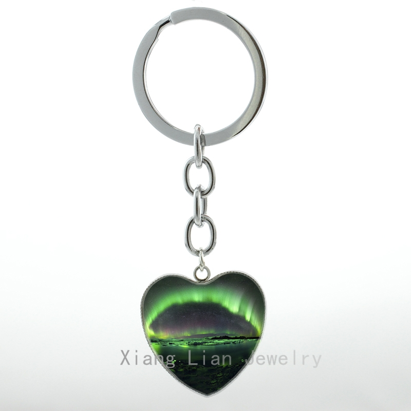 2016 Novelty charming Northern Lights Heart Pendant key chain ring beautiful green North keychain Travel jewelry gift H46