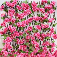 Long 230cm Artificial Cherry Blossoms Flower Vines Silk party supplies Garland Fake Rattan Wedding Arch home Decor
