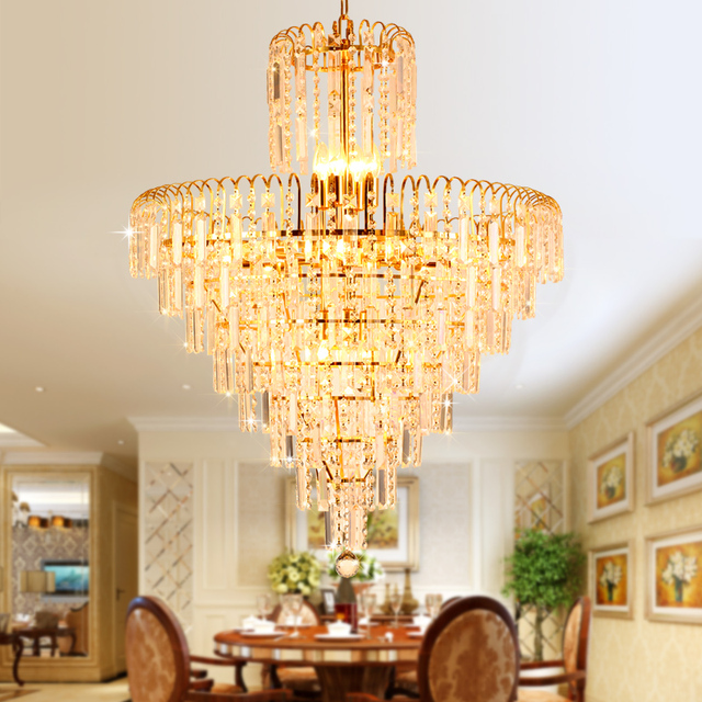 Modern crystal chandelier american gold chandeliers lighting fixture modern crystal chandelier american gold chandeliers lighting fixture home indoor lighting dining room hotel hall lobby mozeypictures Choice Image
