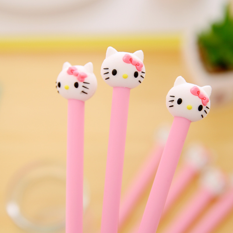 4 pcs hello Korean stationery cartoon cute kitty pen advertising pink gilrs gel pen School Fashion Office kawaii supply in Gel Pens from Office School Supplies