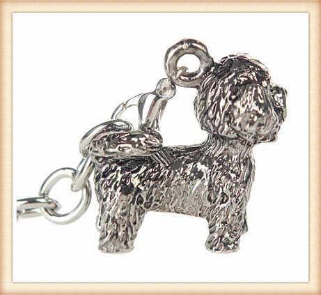 Bichon Frise 2016New corrente Chave animal Bonito Cão da corrente chave pequeno animal de Estimação Adorável chave anel Anti-Banhado A Prata presente brithday para amigos