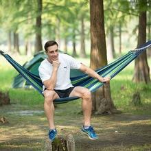 Strong Outdoor Garden Hammock Hang BedการเดินทางแบบพกพาCamping Swingผ้าฝ้ายลายHangเตียงเฟอร์นิเจอร์คุณภาพสูง