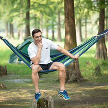 Strong Outdoor Garden Hammock Hang Bed Portable Travel Camping Swing Cotton Stripe Hang Bed Furniture High Quality