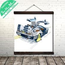 Delorean Rocket Car Scroll Живопись Холст Старинные Плакат и Отпечатки Wall Art Picture Гостиная