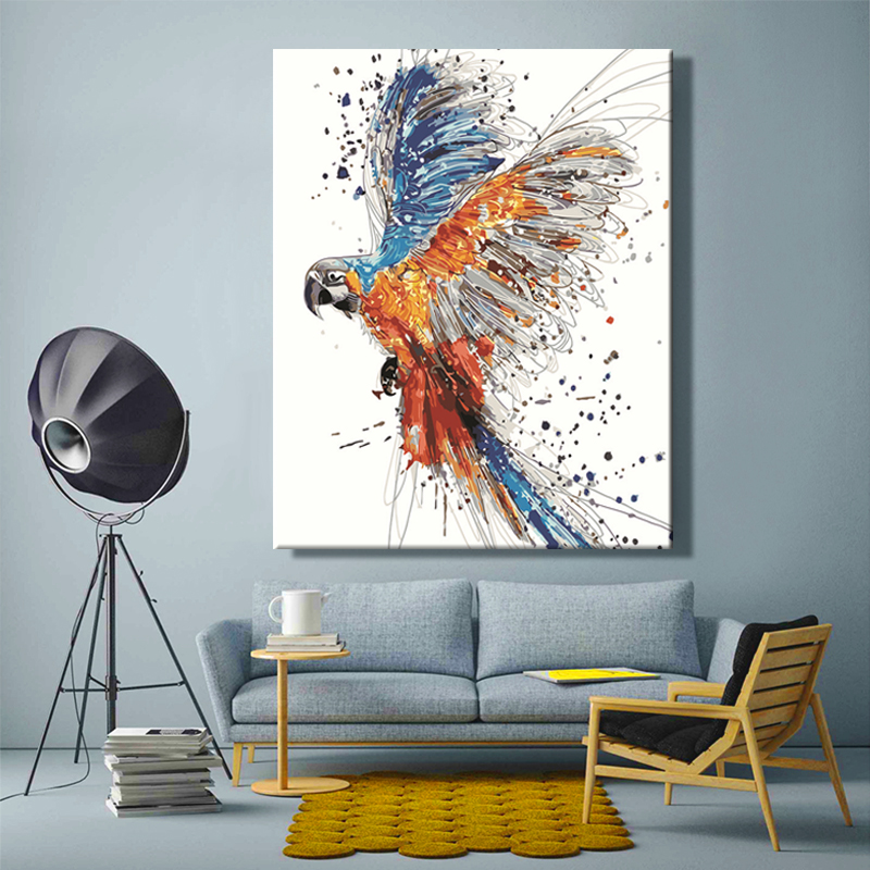 Diy paint by numbers picture drawing by numbers with kits Color animals Parrot Butterfly bird fish Decorative hanging painting
