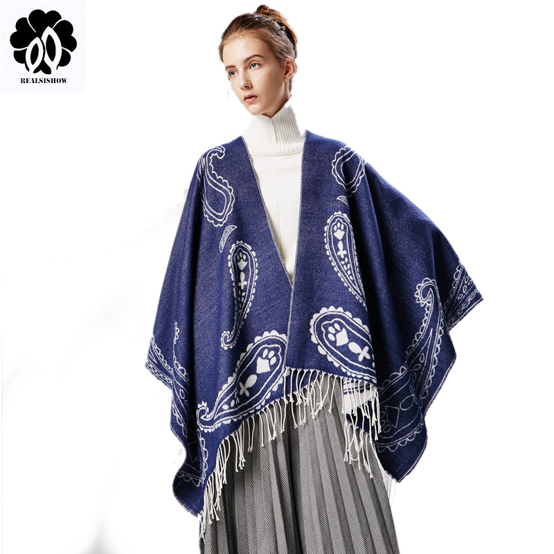 Luxury brand winter women pashmina scarf /shaw cashew ethnic wind shawl Double sided print cape cashmere tassel poncho scarves
