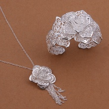 Silver plated luxury popular noble elegant fashion ornate openwork flowers two piece sets hot selling silver jewelry S447
