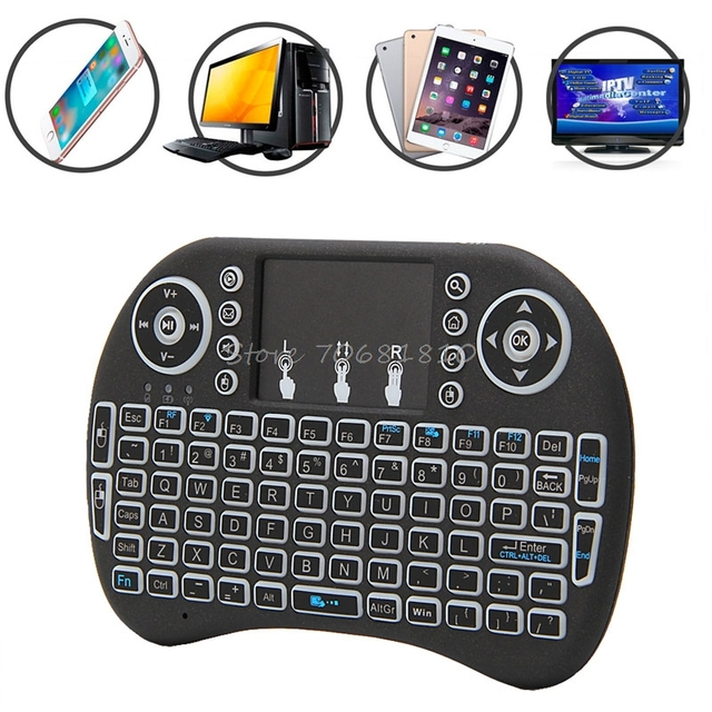 NEW Mini 2.4G 3 Color Backlit Wireless Touchpad Keyboard Air Mouse For PC Pad Android TV Box/X360/PS345 #K400Y# DropShip