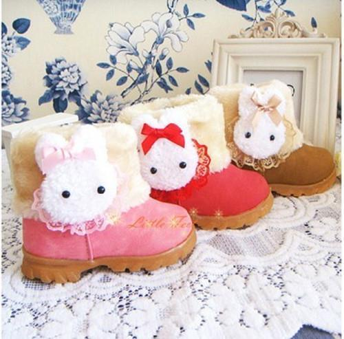 Hot sale 2016 new fashion cut rabbit Kids Children winter boots Girl snow boots warm plush cotton padded shoes