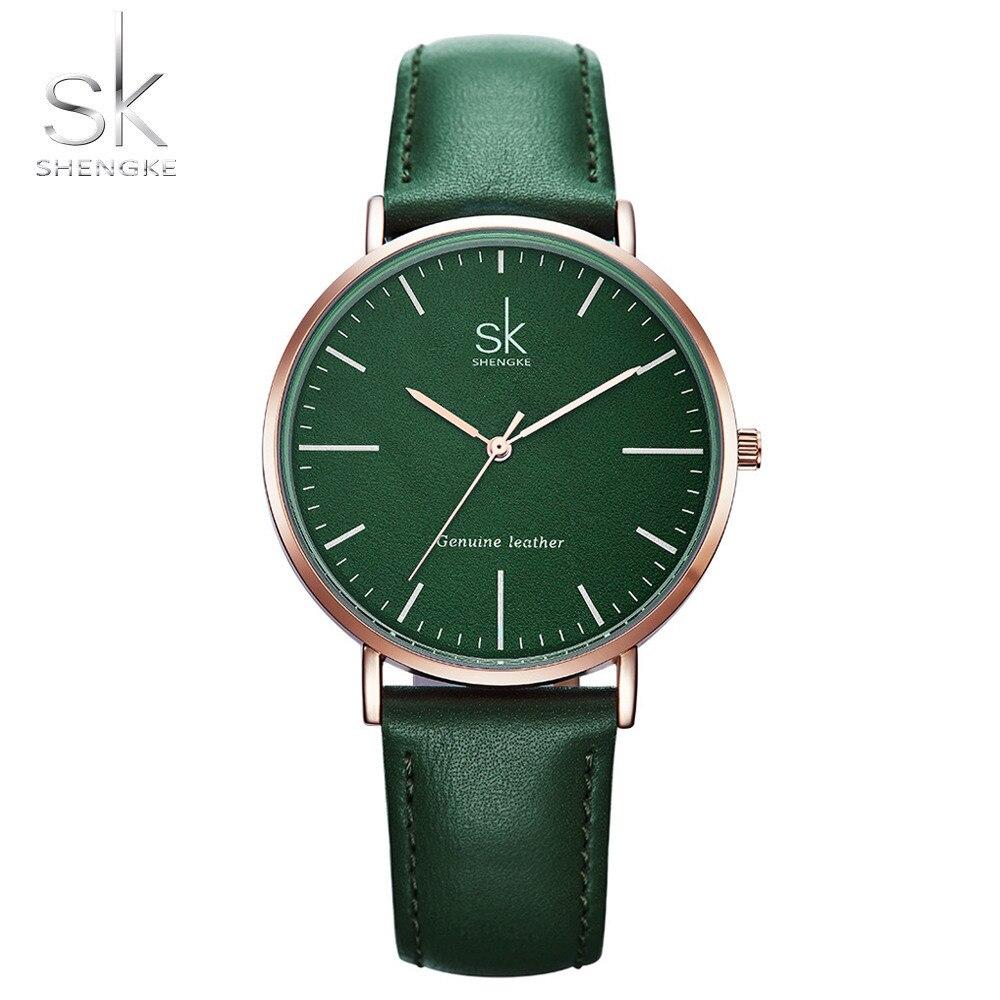 Shengke de cuero genuino de las mujeres relojes de marca de lujo reloj de cuarzo Casual damas mujeres relojes reloj Montre Femme Relogio femenino