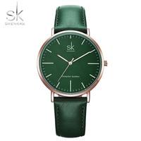 Shengke Genuine Leather Women Watches Luxury Brand Quartz Watch Casual Ladies Watches Women Clock Montre Femme