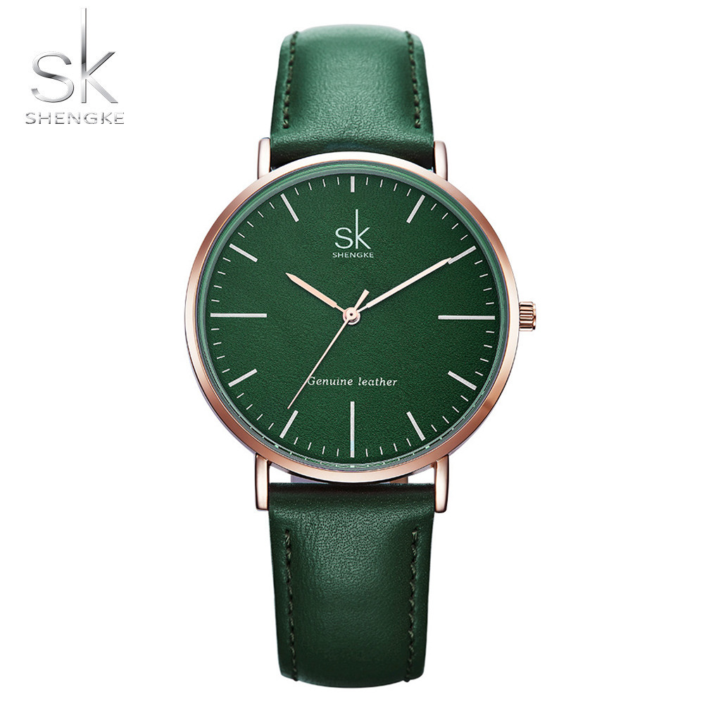Shengke Genuine Leather Women Watches Luxury Brand Quartz Watch Casual Ladies Watches Women Clock Montre Femme Relogio feminino punk jewelry rome scale women watches quartz watch luxury brand genuine leather band bangle montre skull cat zegarki damskie