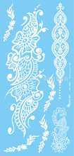 Temporary Waterproof Tattoo Sticker For Women White Lace Indians Tattoo Stickers QC2508e