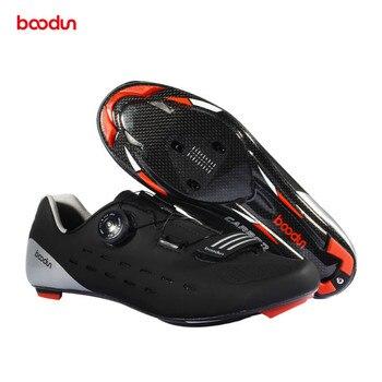 Boodun homens Sapatos De Ciclismo de Estrada Sapatos de Bicicleta de Carbono de Carbono Ultraleve Respirável Auto-Bloqueio Não-slip SPD Triathlon sapatos de bicicleta