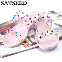 2017 Summer Color Diamonds Europe Joker Punk Style Female Leisure Flat Black And Pink Slippers New