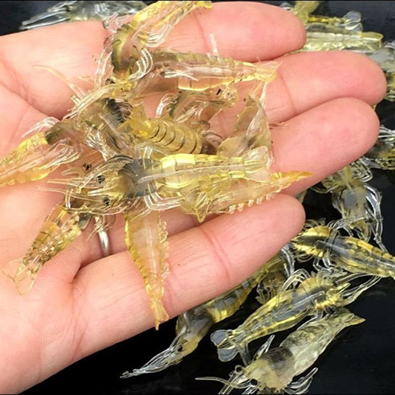 20Pcs/Lot Silicone Baits 4cm 1g Soft Fishing Lure Gold Artificial Shrimp Bait No Hook Sea Fishing Winter Fishing X107