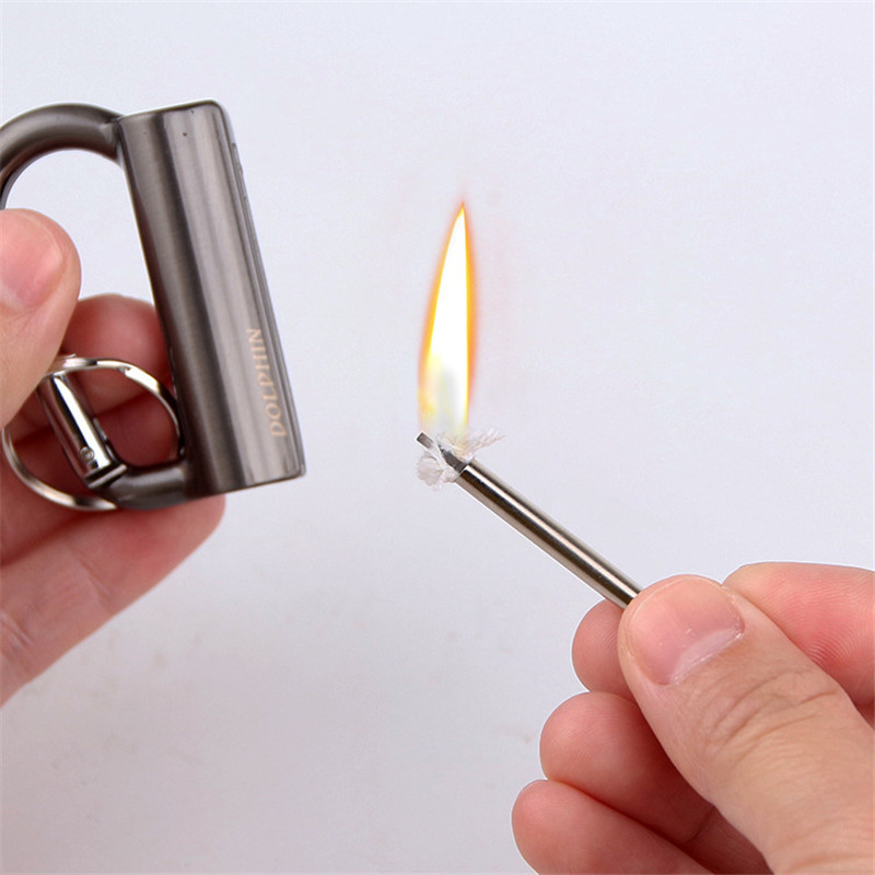 Outdoor Flint Fire Starter Matches Portable Bottle Keychain Survival Tool Outdoor Lighter NO OIL Free Shipping in Matches from Home Garden