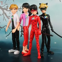 TOFOCO 4pcs Lot Miraculous Ladybug Comic Lady Bug Doll Action Figure Toys Cute Anime Adrien Marinette