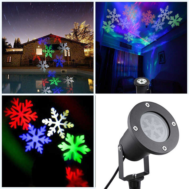 Lumi вечерние водонепроницаемые движущиеся снежные прожекторы, светодиодный светильник со снежинками для рождества, Нового года, вечерние светильник, садовая лампа