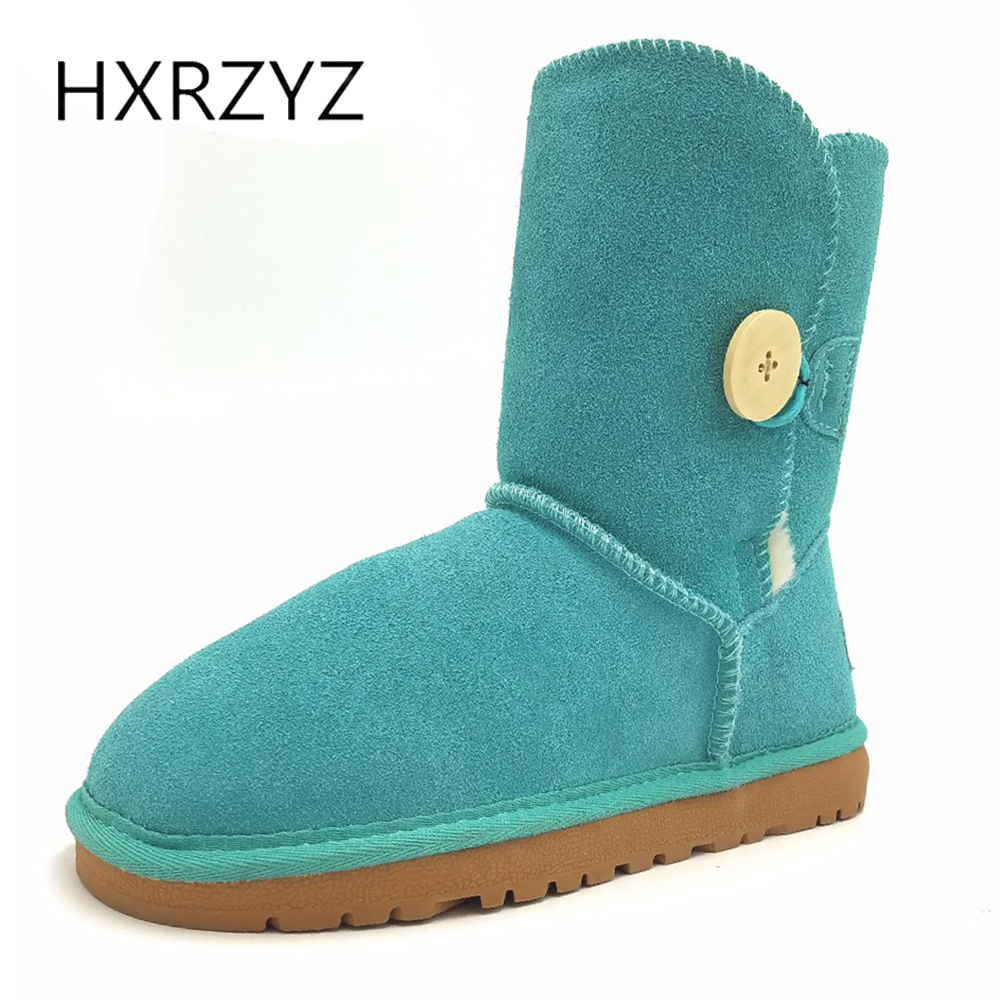 HXRZYZ women snow boots winter suede keep warm large size genuine leather ankle boots female buckle rubber soles anti skid shoes