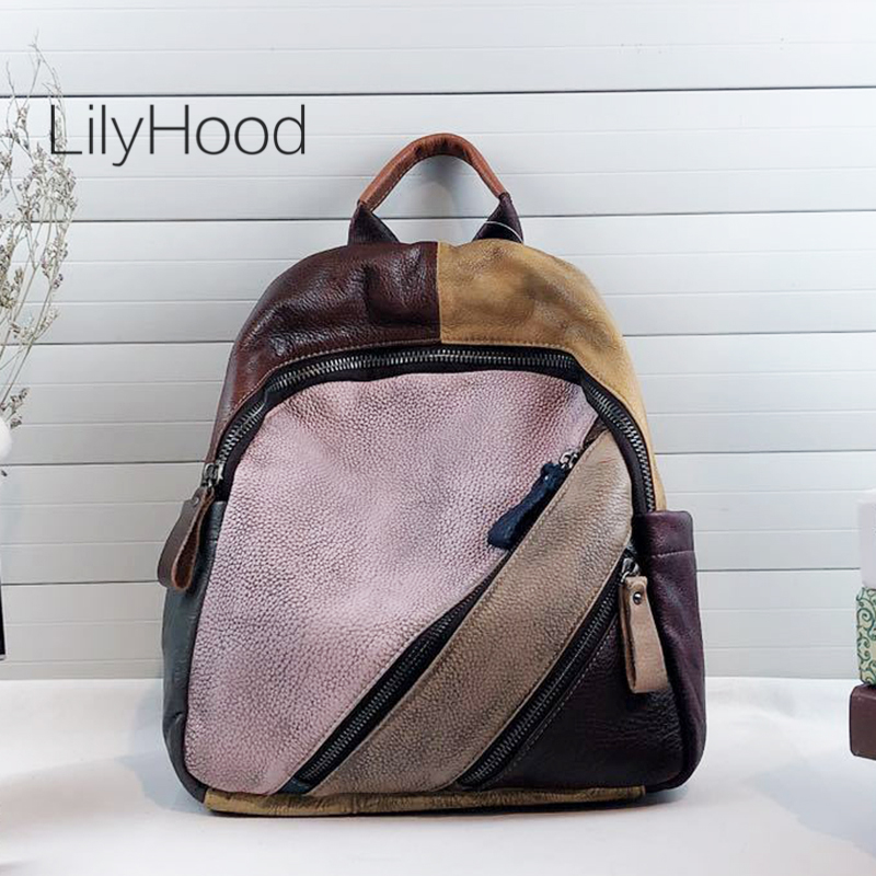 Patchwork Genuine Leather Backpack Female Vintage Natural Leather Daily Daypack 2019 Women Feminine High Quality Casual