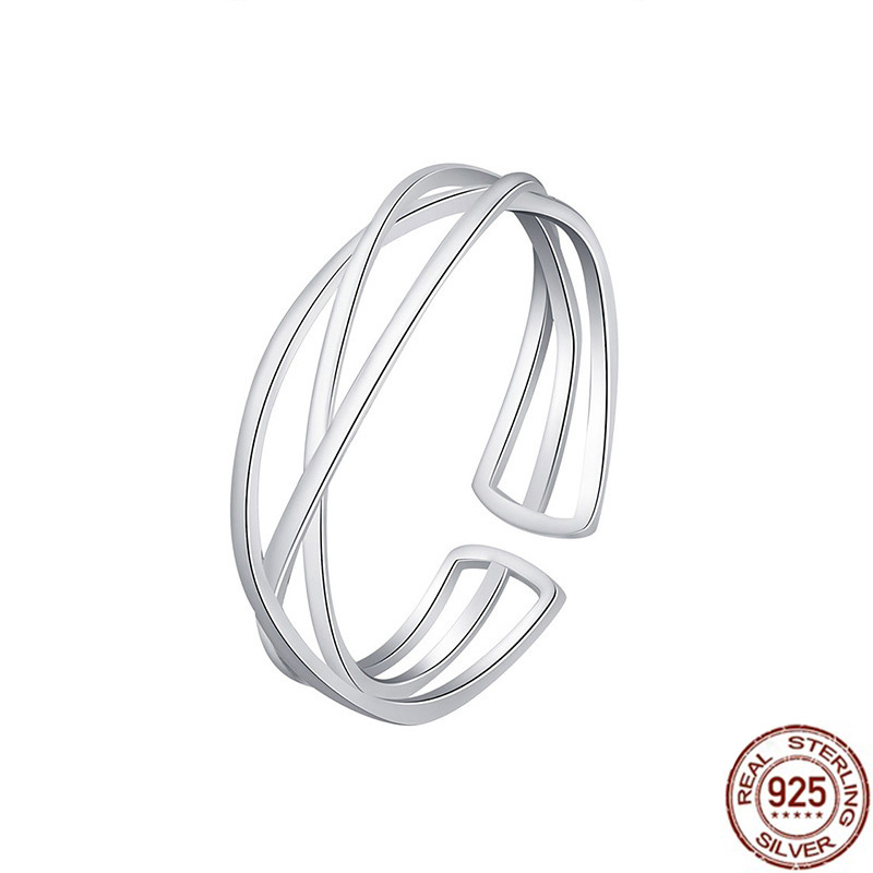 Japanese Korean Fashion 925 Sterling Silver Rings for Women Cross Geometric Adjustable Silver Midi Knuckle Rings Girl's Jewelry image