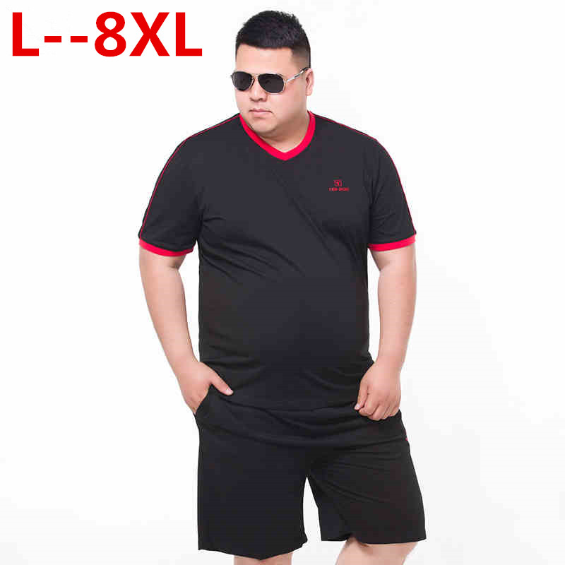 big size 10XL 8XL 6XL 5XL 4XL Brand New Summer Short Sleeve T shirts Men 2018 Cotton Fashion Tees Plus Size V neck Clothing