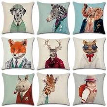 45x45 см джентльмен Mr. animals наволочка из хлопка и льна наволочка креативная спальня диван декорационный бросок декоративные домашние наволочки