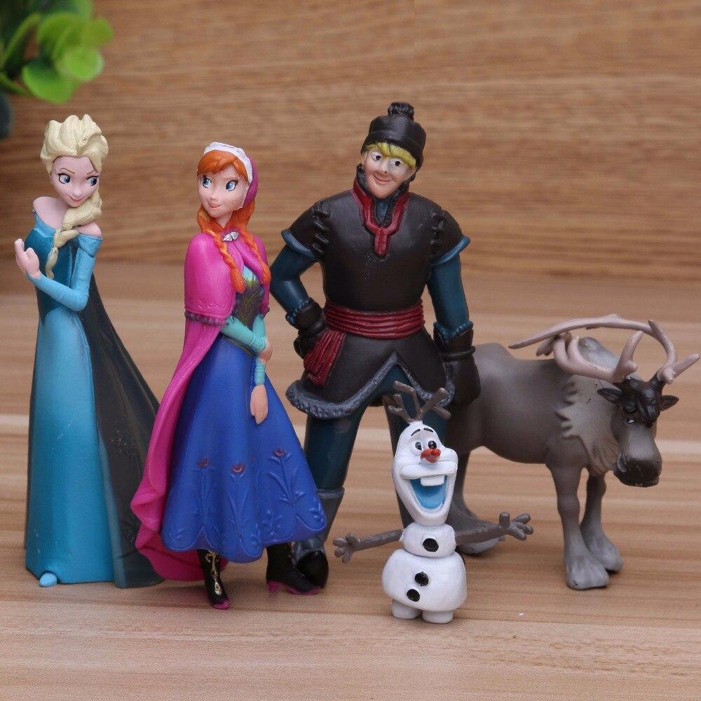 Disney princesa 5 unids/lote 5-10 cm Elsa Anna figuras de acción Kristoff Sven Olaf Pvc muñecas modelo colección regalo de Cumpleaños de Juguetes